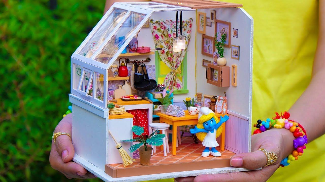 DIY Miniature Kitchen Set Doll House - YouTube
