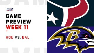 Houston Texans vs Baltimore Ravens Week 11 NFL Game Preview