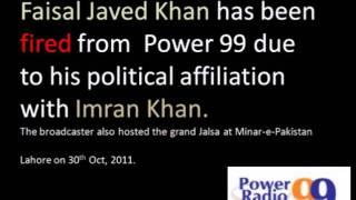Faisal Javed Khan fired from Power 99 on Imran Khan
