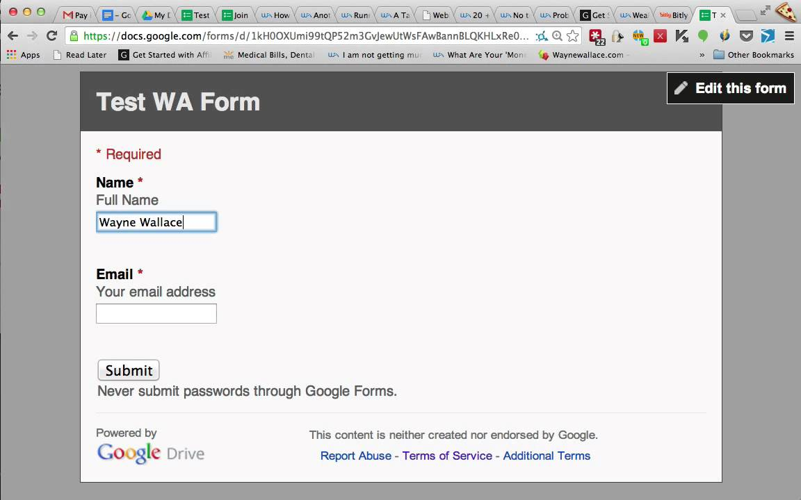 how to create an email sign up form using google forms