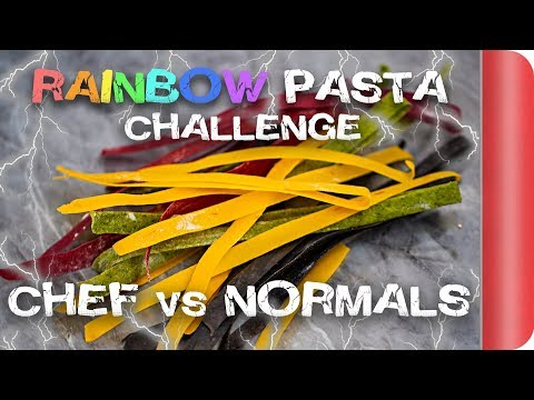 Making Rainbow Carbonara WITHOUT the recipe! Chefs vs Normal Guys