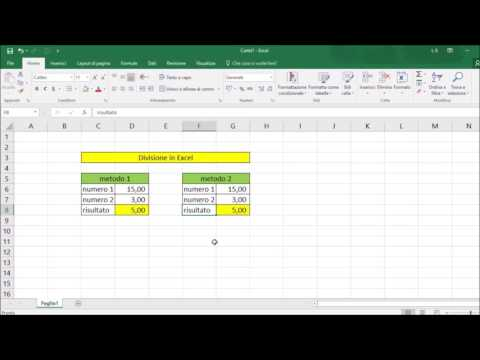 Divisione in Excel