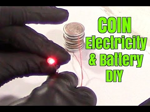 Electricity from coins and battery DIY