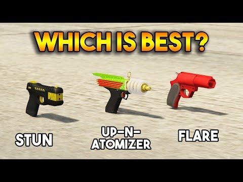 GTA 5 ONLINE : UP-N-ATOMIZER VS STUN GUN VS FLARE (WHICH IS BEST?)