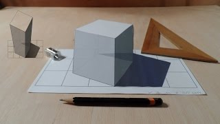 How to Draw 3D Cube, Anamorphic Construction