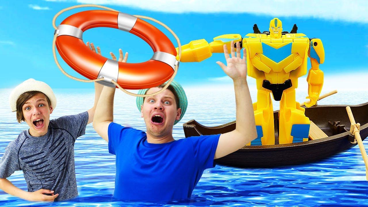 Трансформеры и супергерои: случай на пляже! Игры для мальчиков про машинки Полицейская академия