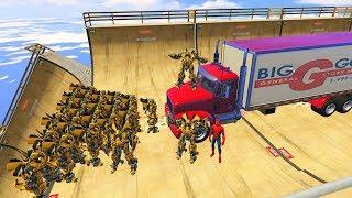 GTA 5 Crazy Ragdolls Spiderman Vs Bumblebee Transformers (GTA 5 Euphoria Physics - Fails Funny)