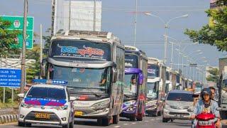 Suasana Konvoi bus PO Haryanto Menuju Famgeth Haryantomania 2020