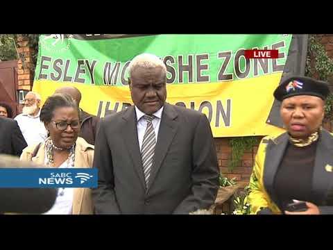 AU  Commission Chairperson Moussa Faki arrives at Mam Winnie's home