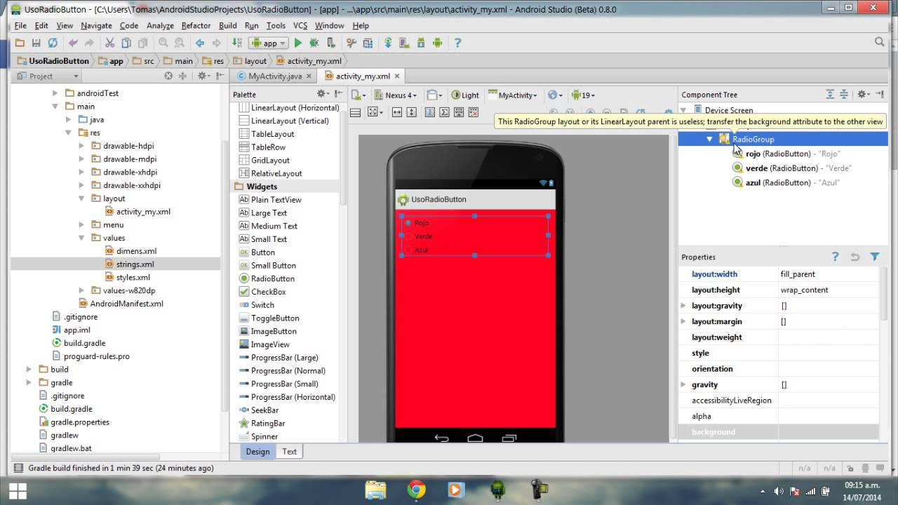 Como usar o background image - Android Studio Tutorial Espa Ol 1 5 Radiogroup Radiobutton Cambiar Color Layout