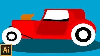 Adobe İllustrator Tutorials - 6 - Drawing Car Flat Art