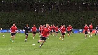 تدريبات منتخب ويلز عشية المباراة نصف النهائية مع نظيره البرتغالي