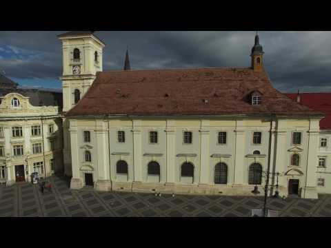 The Old Town of Sibiu, filmed with a drone