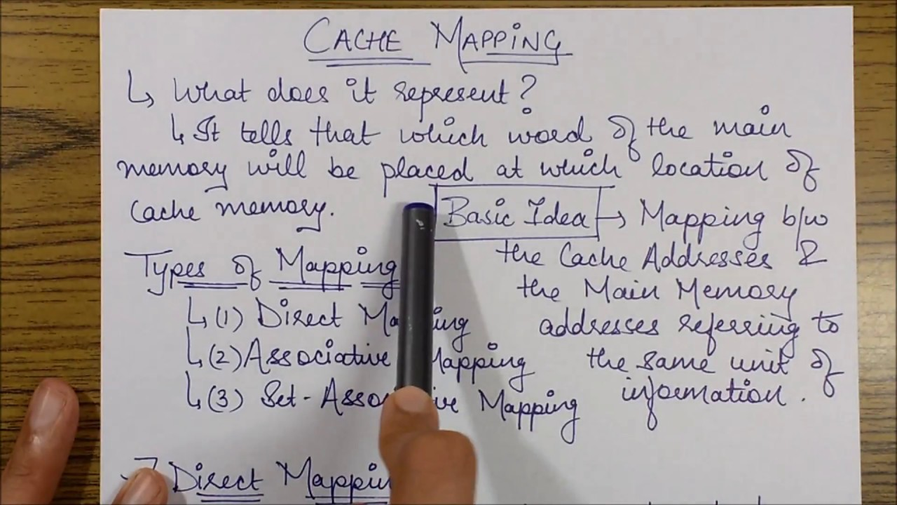 CACHE MEMORY: BASICS & DIRECT MAPPING - YouTube on