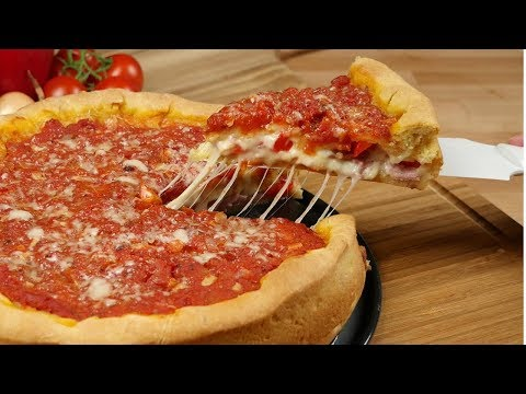 Chicago Style Deep Dish Stuffed Pizza I Pizza backen im Chicago Style