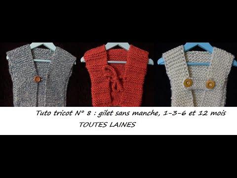 Tuto tricot 8 tricoter un gilet sans manche tailles 1 - Grosse laine pour tricoter sans aiguille ...