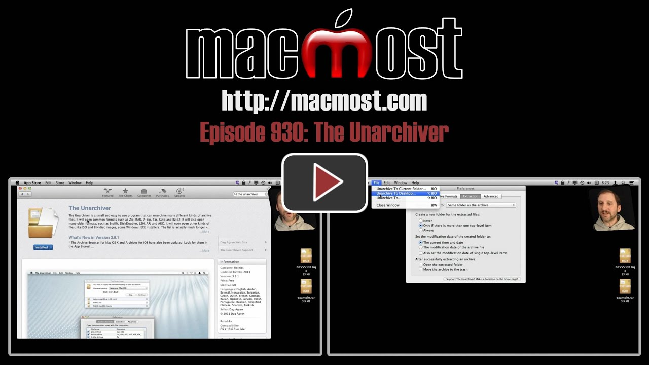 MacMost Now 930: The Unarchiver