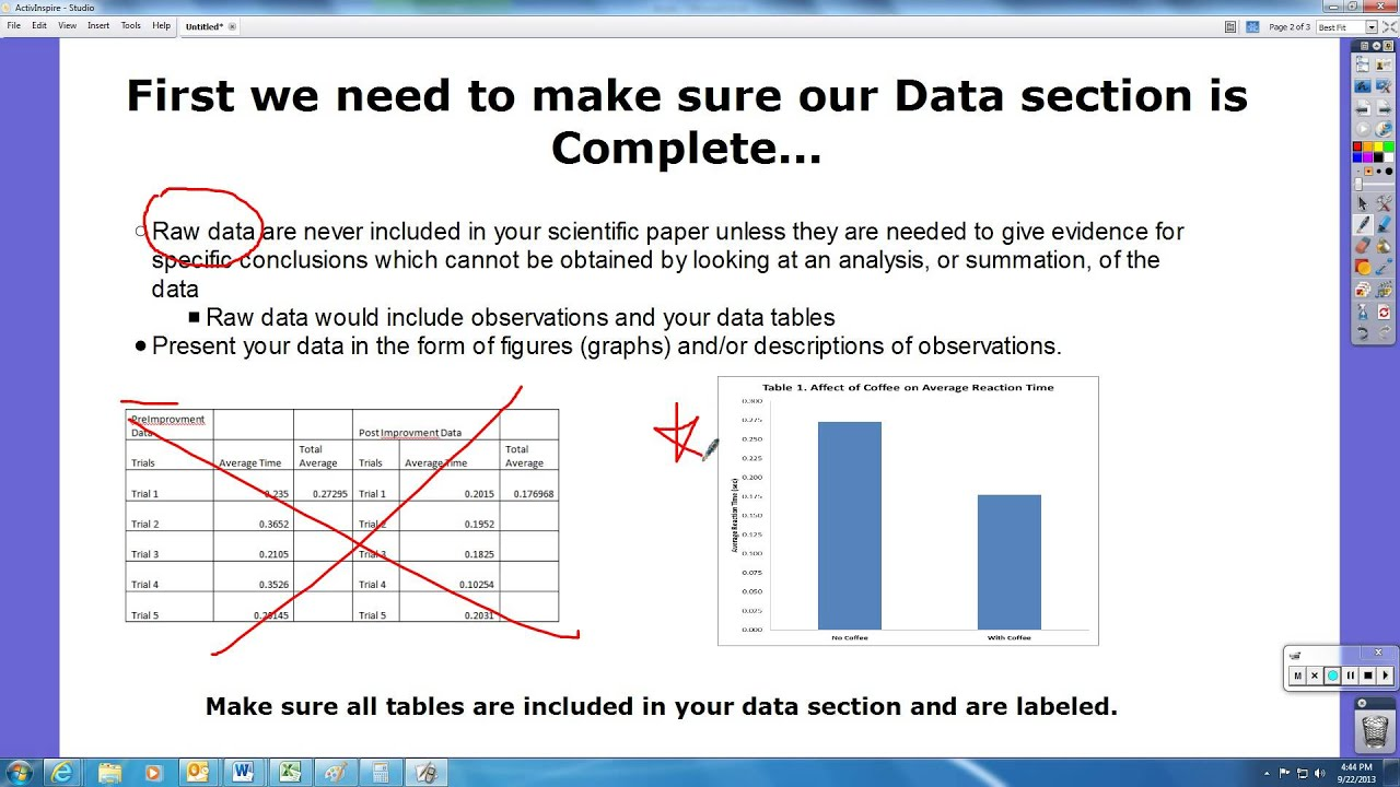 Data And Results Section YouTube