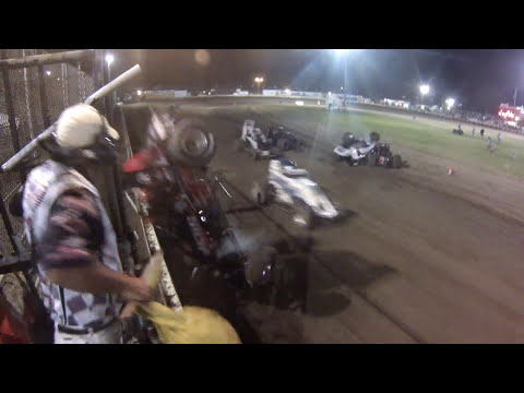 USAC Sprint Car flies into Starter Stand at Ocean Speedway,  Watsonville,  CA.... All OK ...