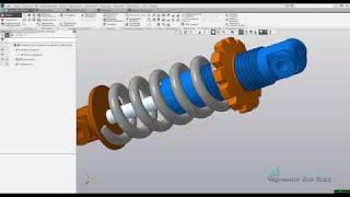 Видеоуроки Компас 3D V17 Создание анимации сжатия-растяжения пружины амортизатора