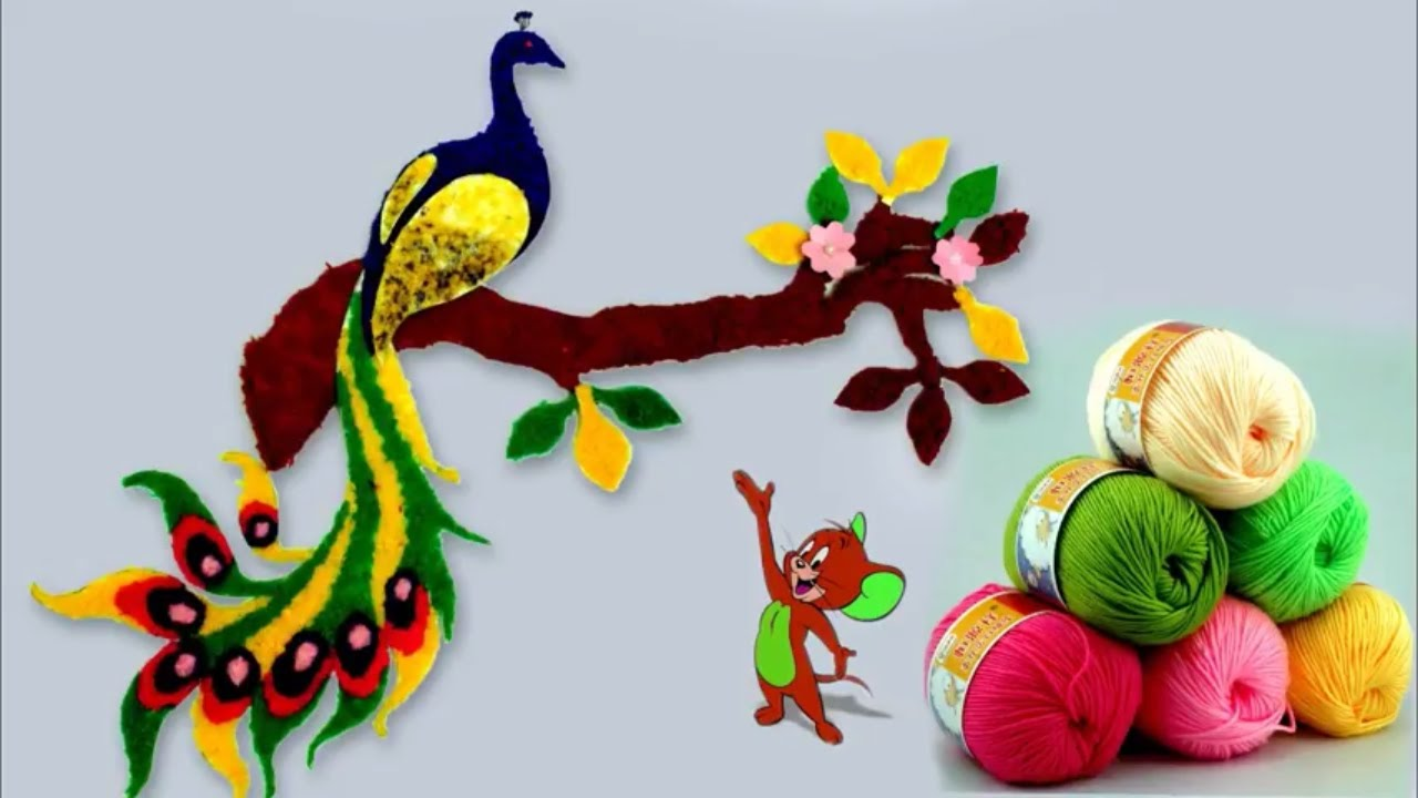 art and craft ideas for wall hangings wall peacock using woolen handmade room decoration 7961