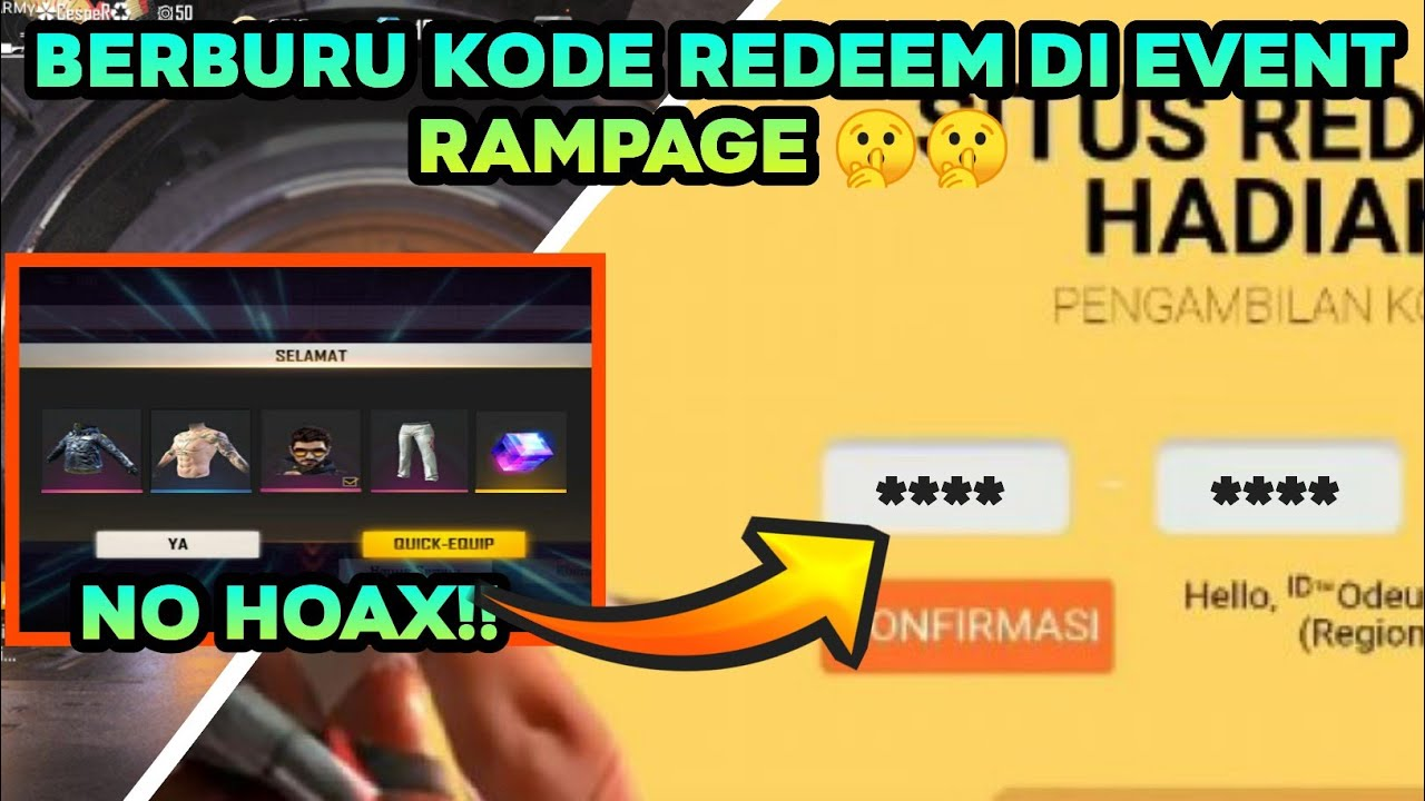 KODE REDEEM FF TERBARU DI EVENTH RAMPAGE | 100% Work - YouTube