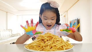 wash your hands before eating a snack | johny johny yes papa / Pretend play for kids 감자튀김 먹기 놀이