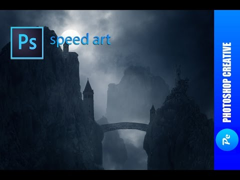 Speed Art ( Matte painting ) – Castle in the dark mountains (#Photoshop ) | PhotoshopCreative
