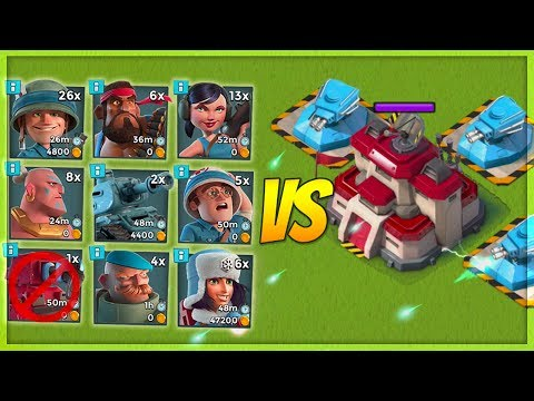Boom Beach 3 MAX Shock Blasters VS EVERY SINGLE Troop! Insane Shock Damage!