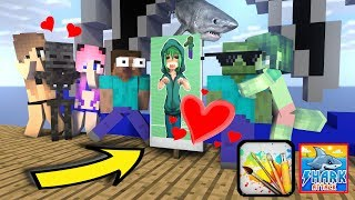 Monster School : DRAWING SE*XY GIRL WITH SHARK CHALLENGE - Minecraft Animation