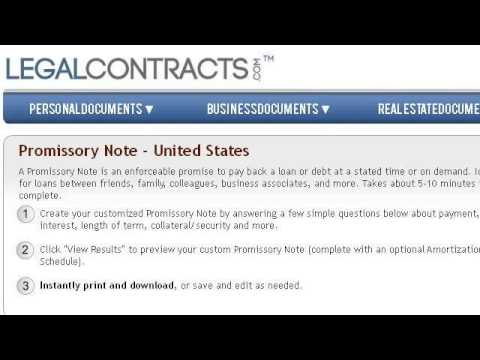 Example Of A Promissory Note Letter YouTube – Promisary Note Example