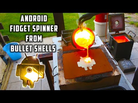 Thumbnail: Casting Brass Samsung Android Fidget Spinner from Bullet Shells
