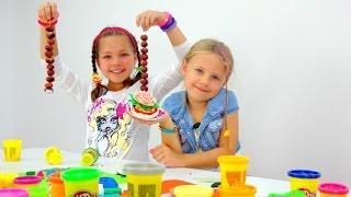 Видео для детей. Пластилин ПЛЕЙ ДО, Ксюша и Настя. Ждем гостей!