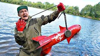 Эту опасную жуткую находку мы нашли там где затонула ракета на магнитной рыбалке