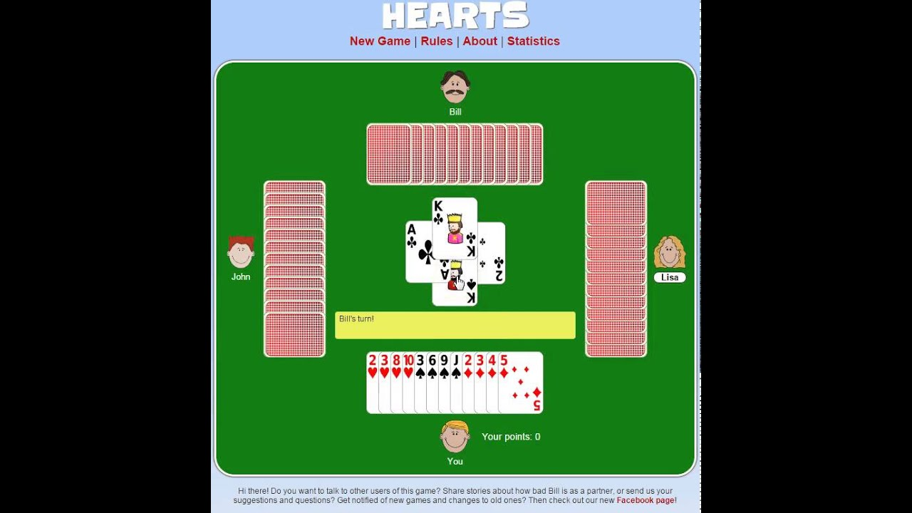free online hearts card games