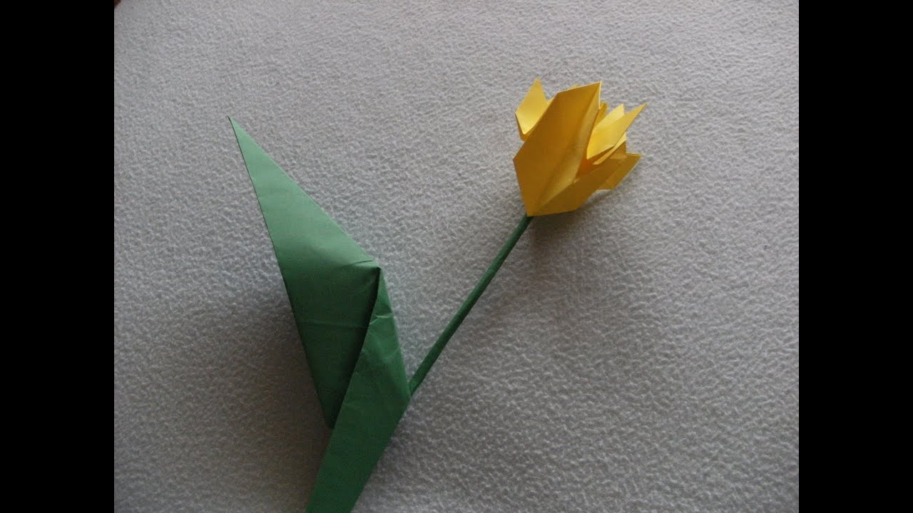 3d Origami Flower Tulip With Leaf How To Make Youtube