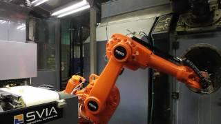 miniflex with abb irb 1600 robot tending a meccanica tfm 10 transfer at mattsson metal