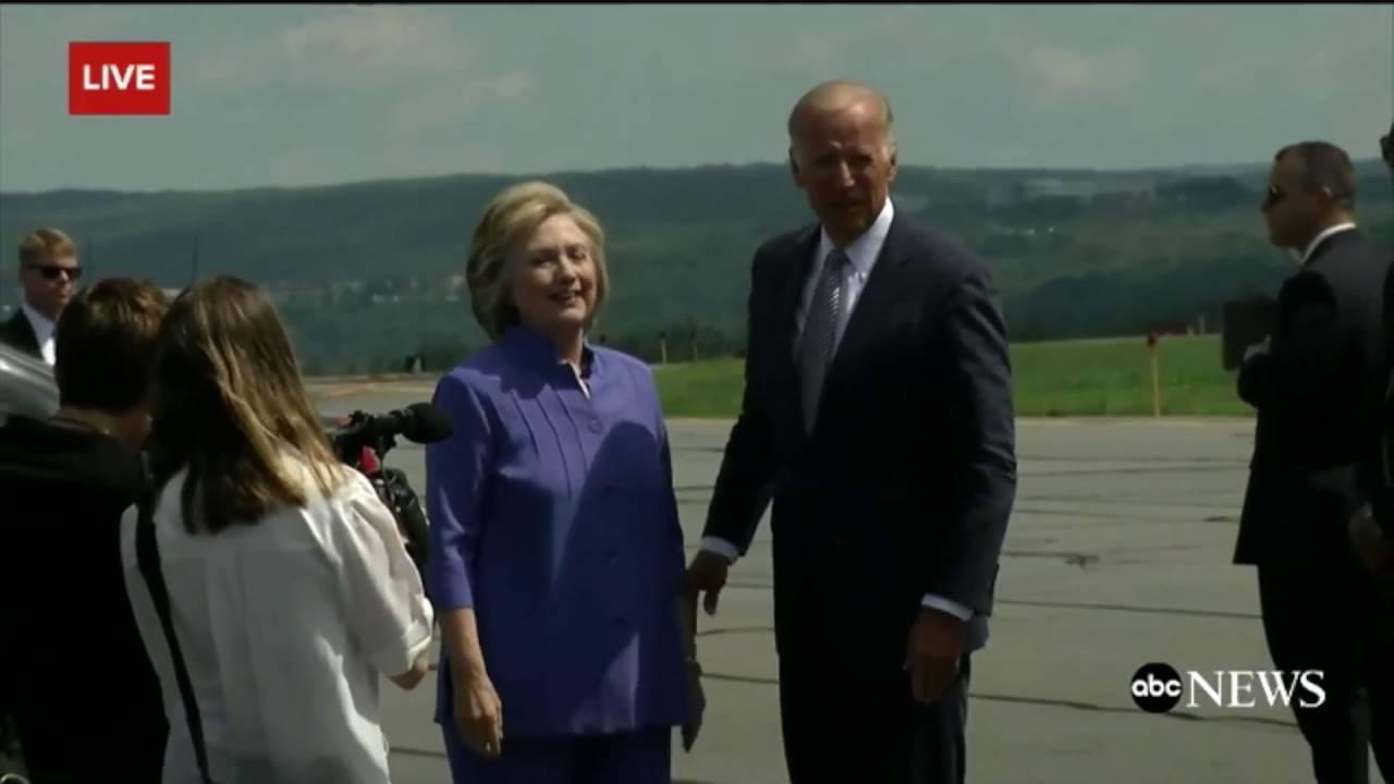 Watch Joe Biden And Hillary Clinton Share An Awkwardly Long Hug In