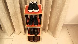 DIY: How to: Cardboard Shoe Rack/ Shelf TUTORIAL---For kids Shoes: