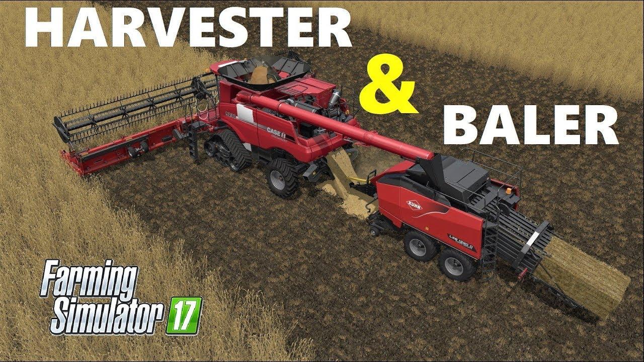 Farming Simulator 17 | HARVESTER AND BALER!!! JUST USING ONE HARVESTER  CASEIH