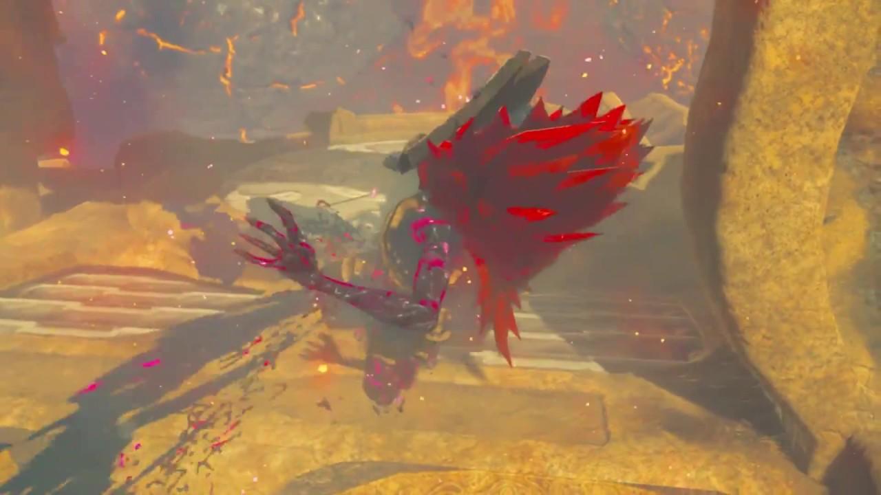 Breath Of The Wild Bosses >> Legend of Zelda BotW- Fireblight Ganon boss fight. - YouTube