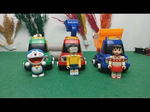 Doremon Nobita Shizuka lái xe ben xe cẩu xe xúc cát pokemon   hoạt hình doremon chế đồ chơi trẻ em