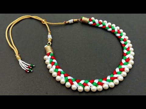 Beautiful Silk Thread and Pearl Necklace//Handmade Necklace//how to make// Useful & Easy