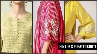 HowTo Style Your Kurties With Pintuks & Pleats Best 40 Idea's/Pleated Neck Designs