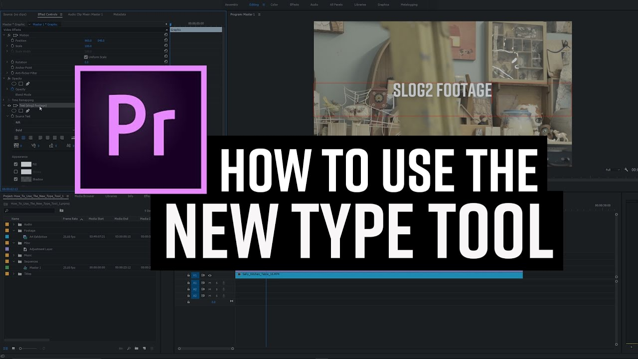 Premiere Pro CC Add Text With The New Type Tool - YouTube