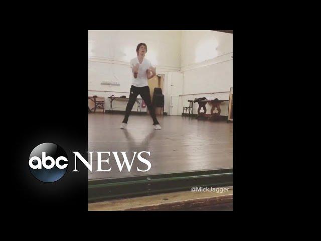 Mick Jagger dancing after heart surgery
