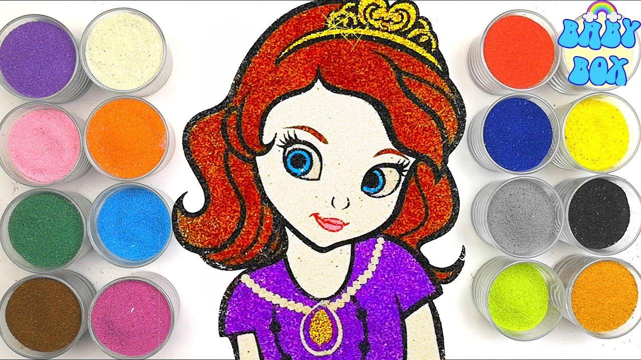 Принцесса София, раскраска для детей. Рисование песком ...