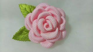 94) DIY - Tutorial || Cara Membuat Bros Bunga Mawar  || How to Make Kanzashi Ribbon Rose