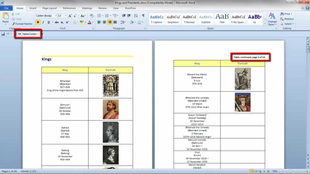 Table Continued Message In A Word Document Youtube