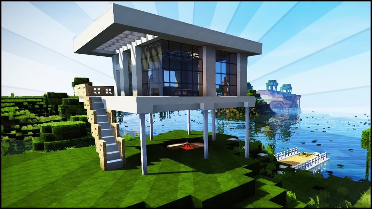 exciting a big house in minecraft. Minecraft  Modern Starter House Tutorial How to Build an Easy in